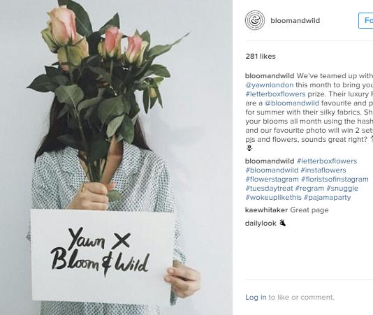 Good startup social media marketing - Bloom & Wild Instagram