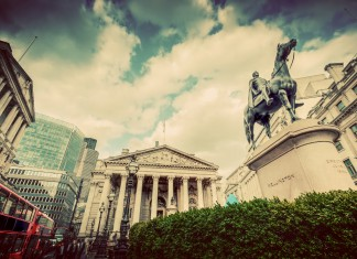 Bank of England, the Royal Exchange in London, the UK. Financial