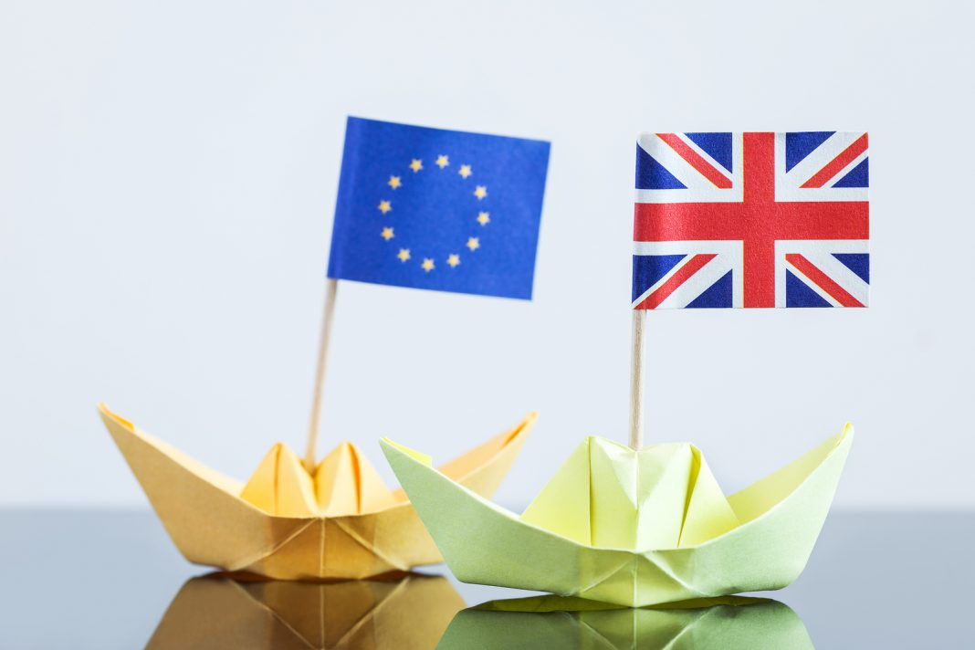 Paper Ship With British And European Flag
