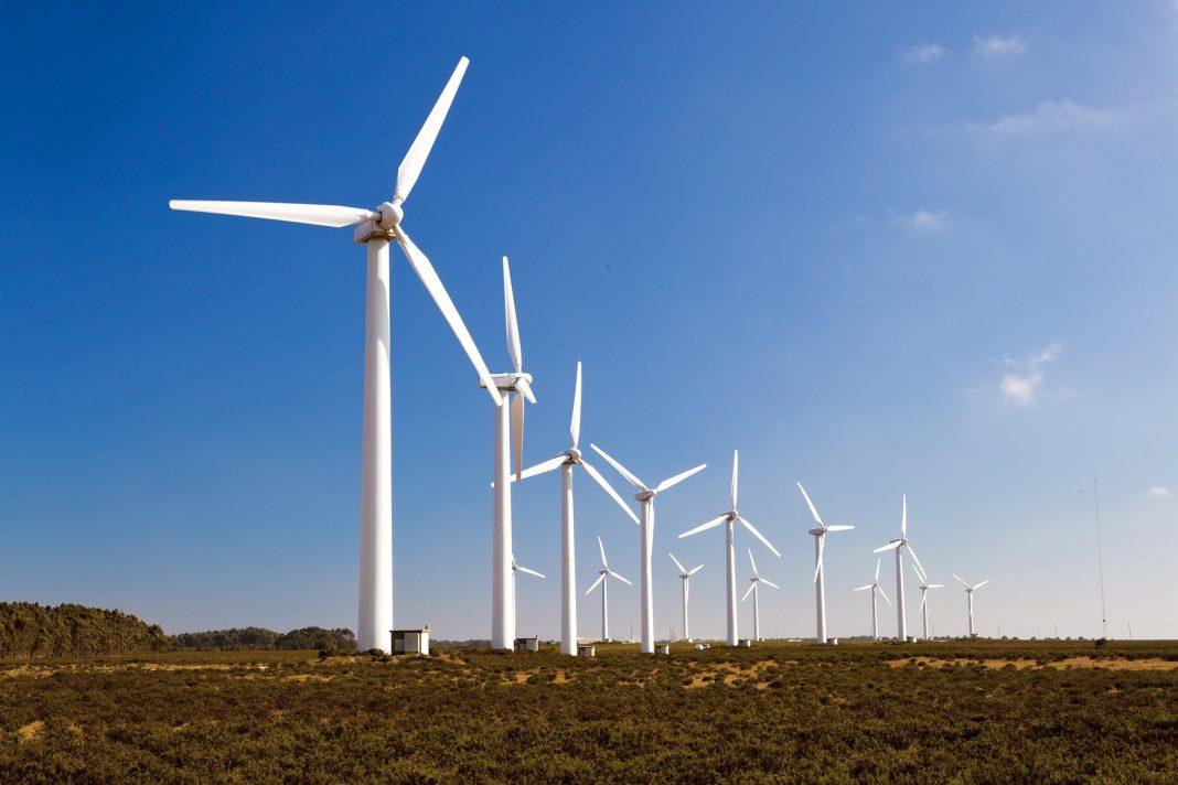 Wind-turbines farm generating clean power energy