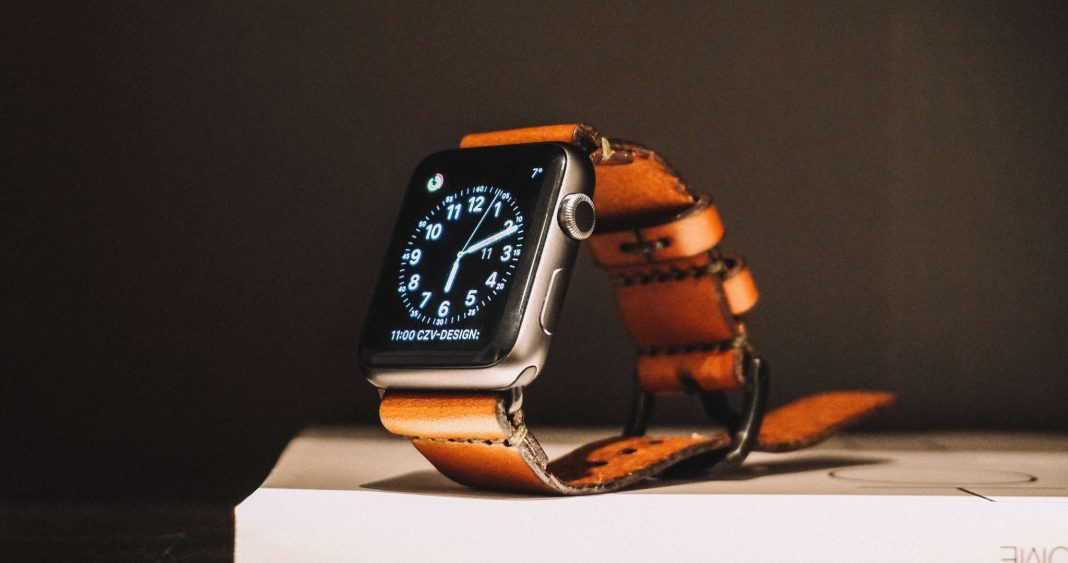 smartwatch with leather strap