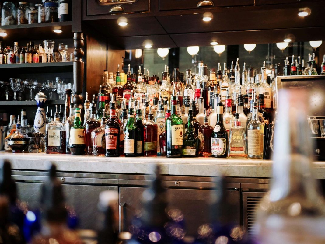 Alcohol behind the bar