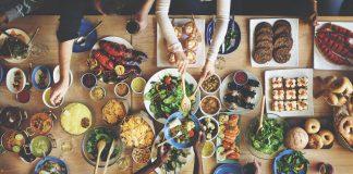 eating lots of food