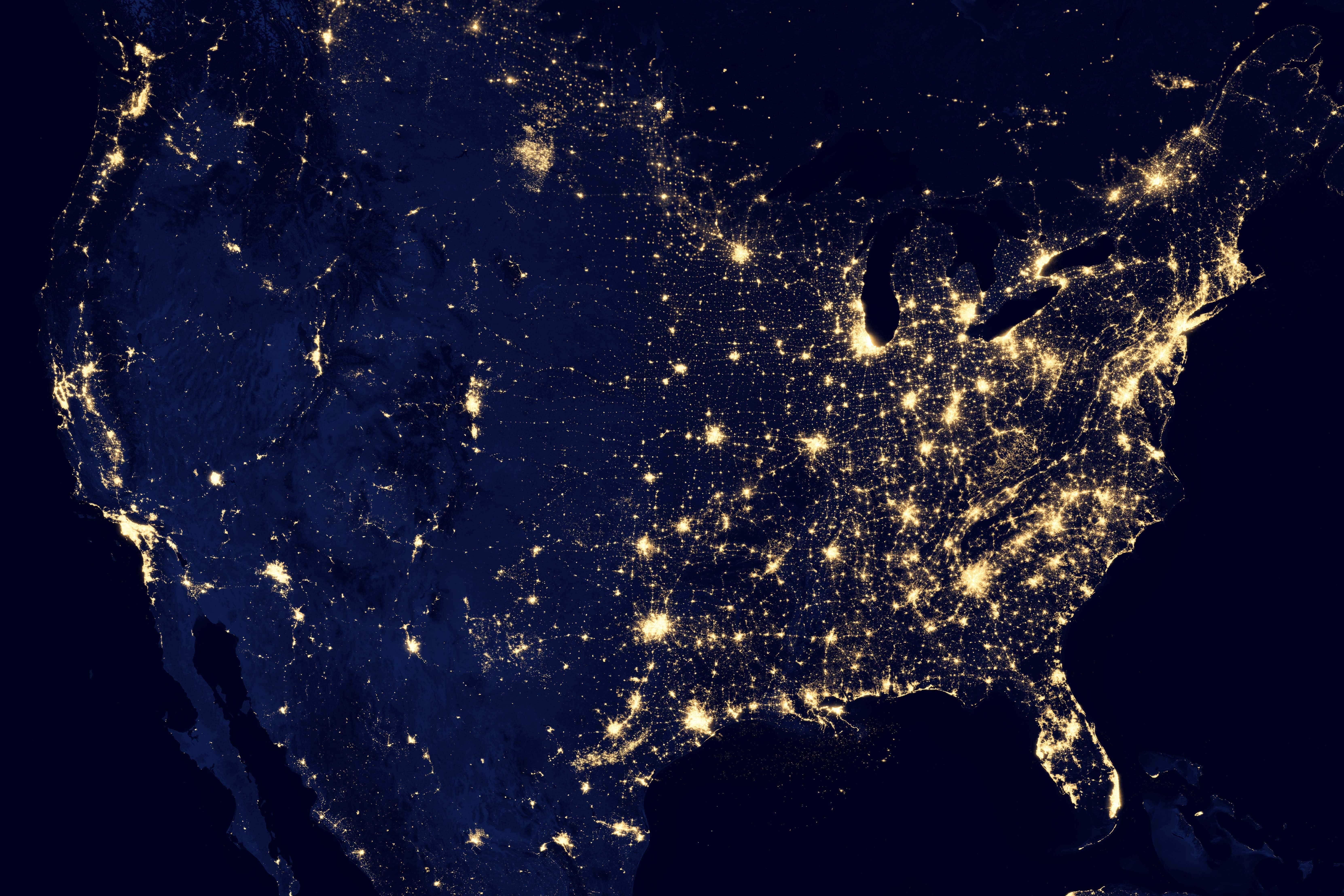 USA light pollution from NASA