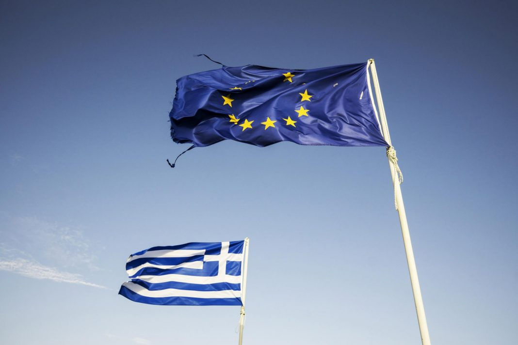 European Union and Greek flag