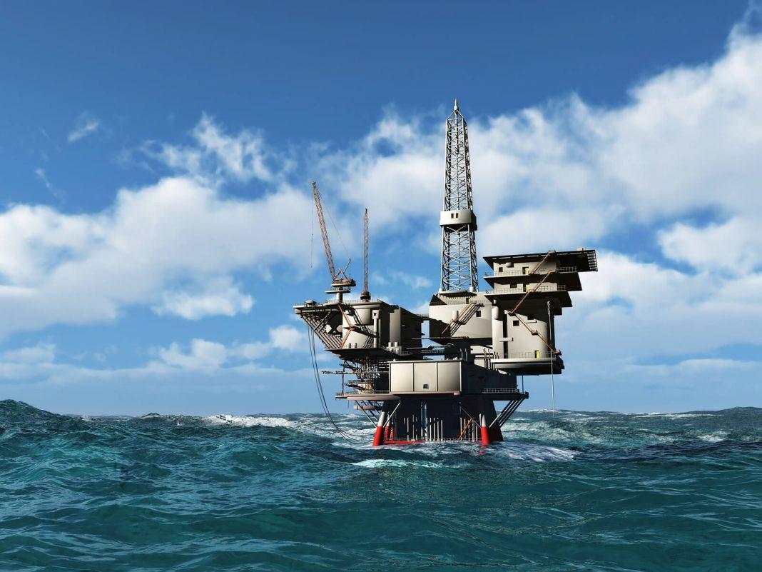Sea oil rig drilling platform