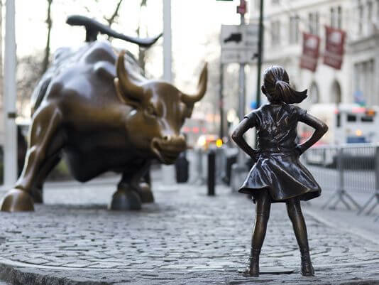 Charging bull and fearless girl