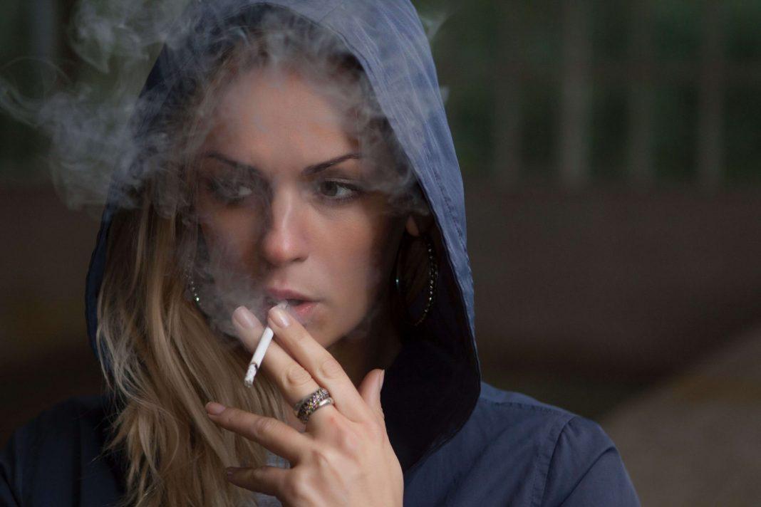 Young women smoking